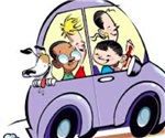 Family Driving in Car