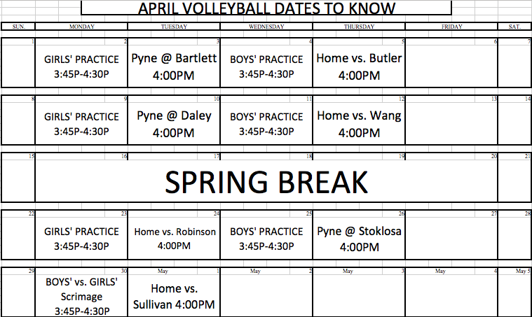 April Volleyball Schedule